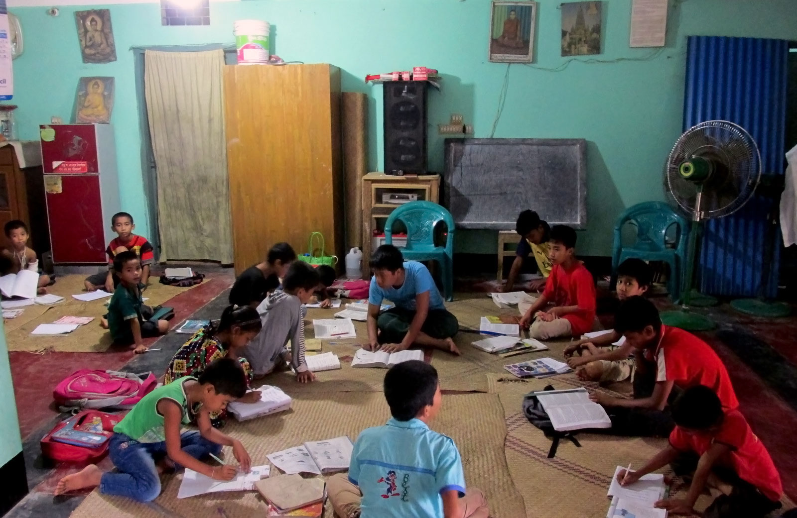 Marma students study session at the temple